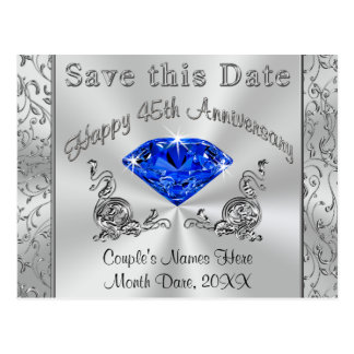 Custom 45th Anniversary Invitations Save the Date