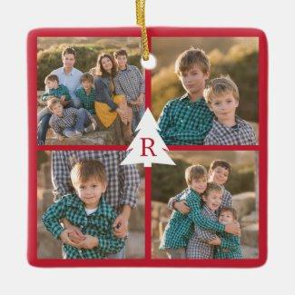 Custom 4 Photo Collage Christmas Tree Monogram Red Ceramic Ornament