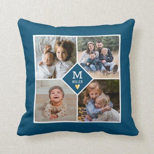 Custom 4 Photo Collage Family Monogram Blue Throw Pillow