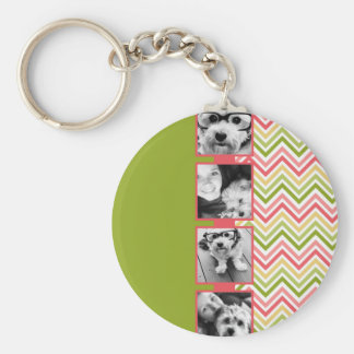 Custom 4 Photo Collage Lime and Coral Chevrons Basic Round Button Keychain