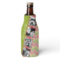 Custom 4 Photo Collage Lime and Coral Chevrons Bottle Cooler