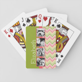 Custom 4 Photo Collage Lime and Coral Chevrons Card Deck
