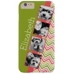 Custom 4 Photo Collage Lime and Coral Chevrons Barely There iPhone 6 Plus Case