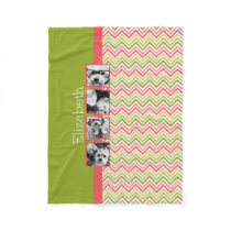 Custom 4 Photo Collage Lime and Coral Chevrons Fleece Blanket
