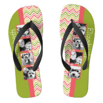 Custom 4 Photo Collage Lime and Coral Chevrons Flip Flops