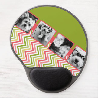 Custom 4 Photo Collage Lime and Coral Chevrons Gel Mouse Pad