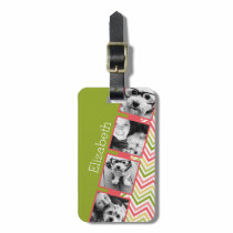 Custom 4 Photo Collage Lime and Coral Chevrons Luggage Tag
