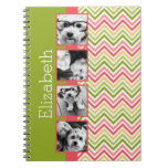 Custom 4 Photo Collage Lime and Coral Chevrons Notebooks
