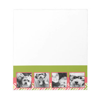 Custom 4 Photo Collage Lime and Coral Chevrons Memo Pads