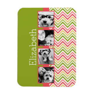Custom 4 Photo Collage Lime and Coral Chevrons Rectangle Magnets