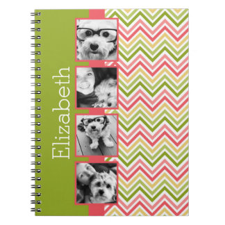 Custom 4 Photo Collage Lime and Coral Chevrons Spiral Notebook