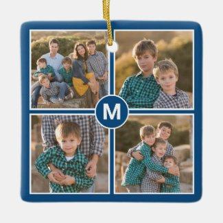 Custom 4 Photo Collage with Monogram on Blue Ceramic Ornament