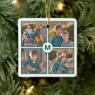 Custom 4 Photo Collage with Teal Monogram Ceramic Ornament