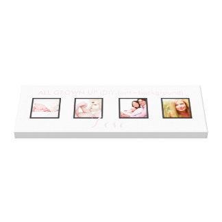 custom 4-Photo frames DIY font+background Stretched Canvas Prints