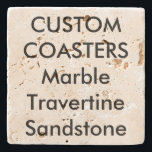 "Custom 4"" Real Stone Travertine Coasters Cork Back<br><div class=""desc"">Custom 4"" x 4"" TRAVERTINE COASTER - cork backed coasters for a scratch free table. For trendy and stylish dining and entertaining. Printed in full color with fade-resistant ink. Available in marble, limestone, sandstone or travertine real stone. Personalized birthday, Christmas, Mother's Day, Father's Day celebrations, gifts for her (woman, women,...</div>"