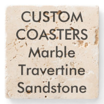 "Custom 4"" Real Stone Travertine Coasters Cork Back"