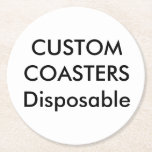 """Custom 4"""" Round Disposable Party Coasters<br><div class=""""desc"""">Custom 4"""" ROUND DISPOSABLE COASTERS - tough, durable, absorbent 50 pt. pulp paper board party coasters, sold in sets of 6 (multi order discount). Full color printing on one side. Essential for a wedding reception, for a birthday, barbecue, Christmas or office party, a cocktail or house party, and for business...</div>"""