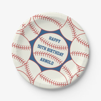 Custom 50th Birthday Baseball Paper Party Plates