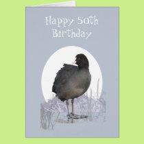 "Custom 50th Birthday ""Old Coot"" Funny Bird Humor Card"