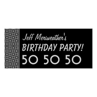Custom 50th Birthday or Any Year Black Silver V61 Poster
