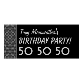 Custom 50th Birthday or Any Year Black Silver V62 Poster