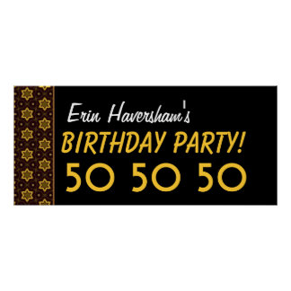 Custom 50th Birthday or Any Year Gold and Black B4 Poster