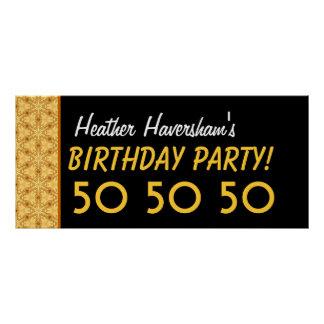 Custom 50th Birthday or Any Year Gold and Black B7 Poster