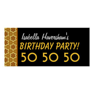 Custom 50th Birthday or Any Year Gold and Black B9 Poster