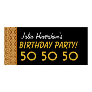 Custom 50th Birthday or Any Year Gold and Black C1 Poster