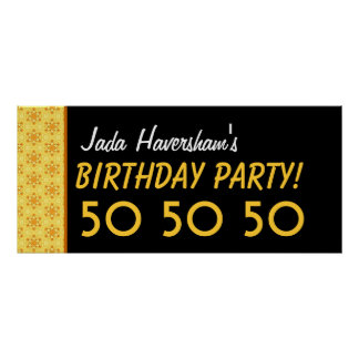 Custom 50th Birthday or Any Year Gold and Black C2 Poster