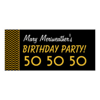 Custom 50th Birthday or Any Year Gold Black V07 Poster