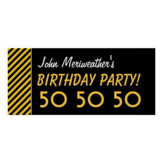 Custom 50th Birthday or Any Year Gold Black V08 Poster