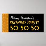 Custom 50th Birthday or Any Year Gold Stars V04 Print