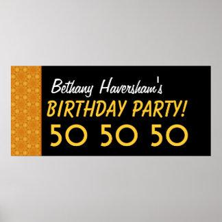 Custom 50th Birthday or Any Year Gold Stars V04 Poster