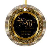 Custom 50th Golden Anniversary Ceramic Ornament