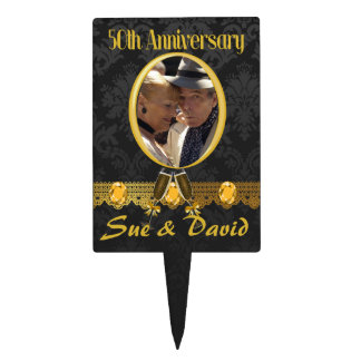 Custom 50th Wedding Anniversary Photo Cake Topper