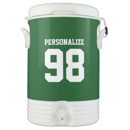 Custom 5 gallon beverage cooler with jersey number