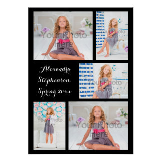 Custom 5 Photo Personalized Collage Print