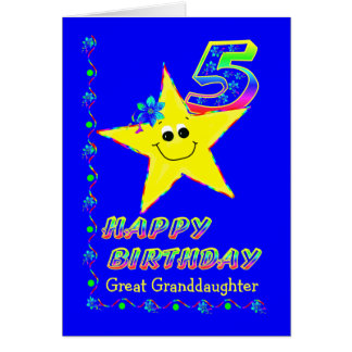 Custom 5th Birthday Stars for Great Granddaughter Card