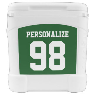 Custom 60 quart wheeled cooler with jersey number