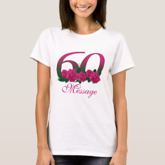 Custom 60th birthday anniversary pink T-shirt