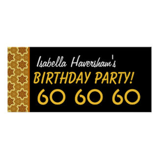 Custom 60th Birthday or Any Year Gold Stars Poster