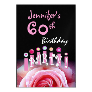 Custom 60th Birthday Party Metallic 5x7 Paper Invitation Card