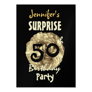 Custom 60th SURPRISE Birthday Frilly Gold Rose Card