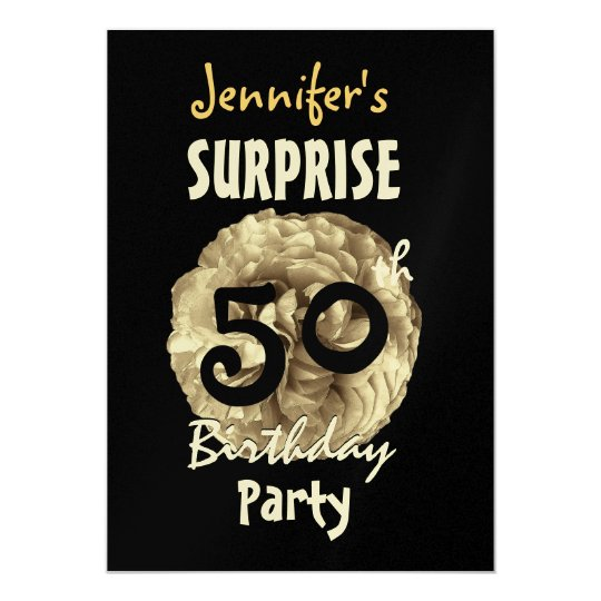 Custom 60th SURPRISE Birthday Frilly Gold Rose Invitation