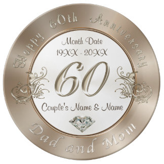 Custom 60th Wedding Anniversary Gifts for Parents Plate