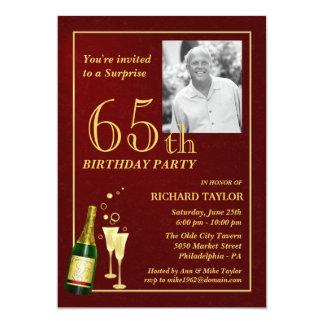 "Custom 65th Birthday Party Invitations - Burgundy 5"" X 7"" Invitation Card"