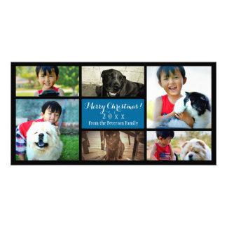 Custom 6 Photo Collage Christmas Blue Photo Card