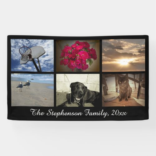 Custom 6 Photo Collage Horizontal Picture Banner