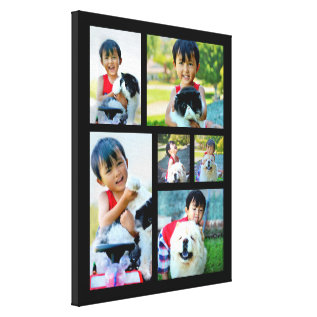 Custom 6 Photo Collage Mosaic Wrapped Canvas at Zazzle
